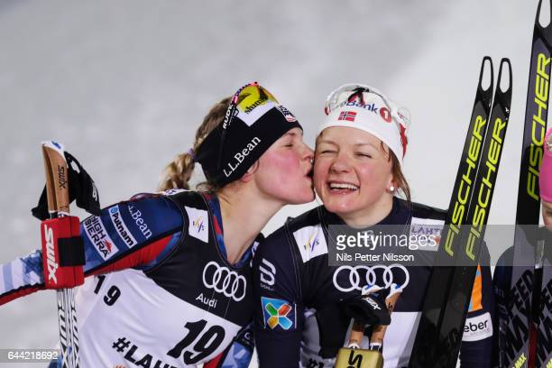 Jessica Diggins of USA and Maiken Caspersen Falla of Norway during the cross country sprint during the FIS Nordic World Ski Championships on February...