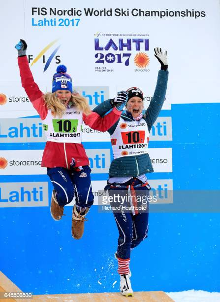 Jessica Diggins of USA celebrate with team mate Sadie Bjornsen winning 3rd place in the Men's and Women's Cross Country Team Sprint Final during the...