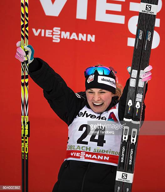 Jessica Diggins of USA celebrates victory after the FIS Cross Country World Cup Tour de Ski Ladies 50 km Individual Free at Toblach on January 08...