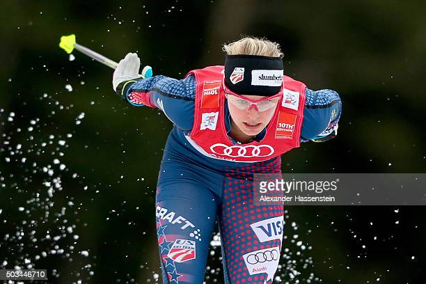 Jessica Diggins of USA competes at the Ladies 12km Classic Sprint Competition during day 1 of the FIS Tour de Ski event on January 5 2016 in...