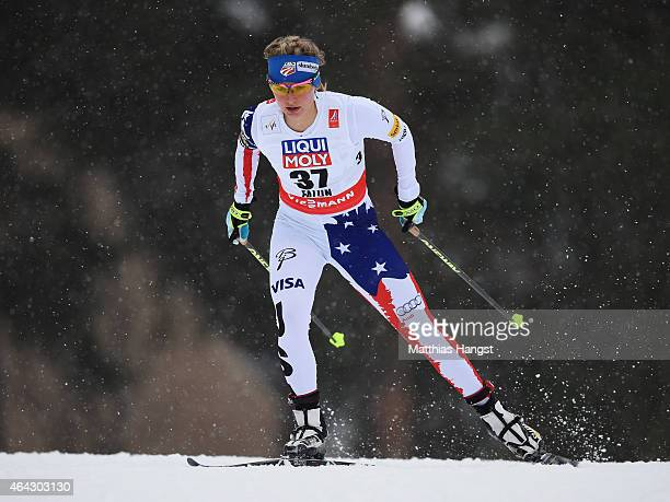 Jessica Diggins of USA competes during the Women's 10km CrossCountry during the FIS Nordic World Ski Championships at the Lugnet venue on February 24...