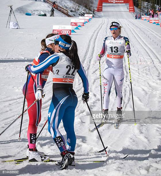 Jessica Diggins of USA Maiken Caspersen Falla of Norway and Krista Parmakoski of Finland after Final Cross Country Ladies 15 km Sprint Classic on...