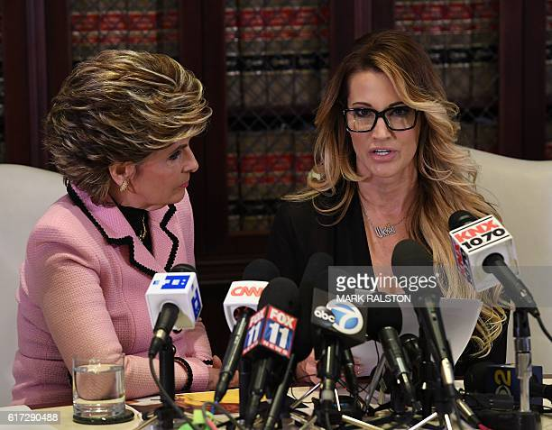 jessica drake who works for an adult film company speaks beside attorney Gloria Allred about allegations of sexual misconduct against Republican...