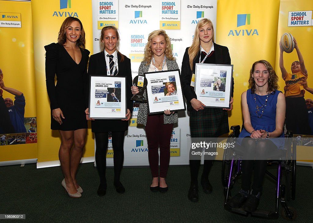 <a gi-track='captionPersonalityLinkClicked' href=/galleries/search?phrase=Jessica+Ennis&family=editorial&specificpeople=602482 ng-click='$event.stopPropagation()'>Jessica Ennis</a> (L) and Sophie Christiansen (R) pose with Female Pupil of the Year nominees during the AVIVA and Daily Telegraph School Sport Matters awards at Lord's Cricket Ground on November 14, 2012 in London, England.