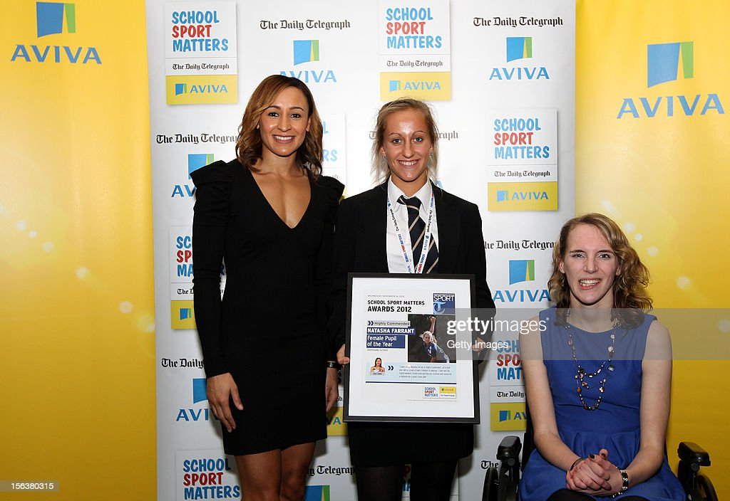 <a gi-track='captionPersonalityLinkClicked' href=/galleries/search?phrase=Jessica+Ennis&family=editorial&specificpeople=602482 ng-click='$event.stopPropagation()'>Jessica Ennis</a> (L) and Sophie Christiansen (R) pose with Female Pupil of the Year highly commended nominee Natasha Farrant during the AVIVA and Daily Telegraph School Sport Matters awards at Lord's Cricket Ground on November 14, 2012 in London, England.