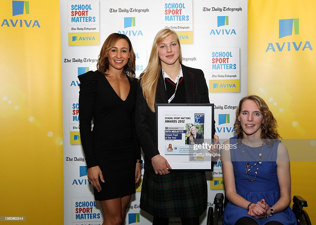 <a gi-track='captionPersonalityLinkClicked' href=/galleries/search?phrase=Jessica+Ennis&family=editorial&specificpeople=602482 ng-click='$event.stopPropagation()'>Jessica Ennis</a> (L) and Sophie Christiansen (R) pose with Female Pupil of the Year commended nominee Ruta Meiletyte during the AVIVA and Daily Telegraph School Sport Matters awards at Lord's Cricket Ground on November 14, 2012 in London, England.