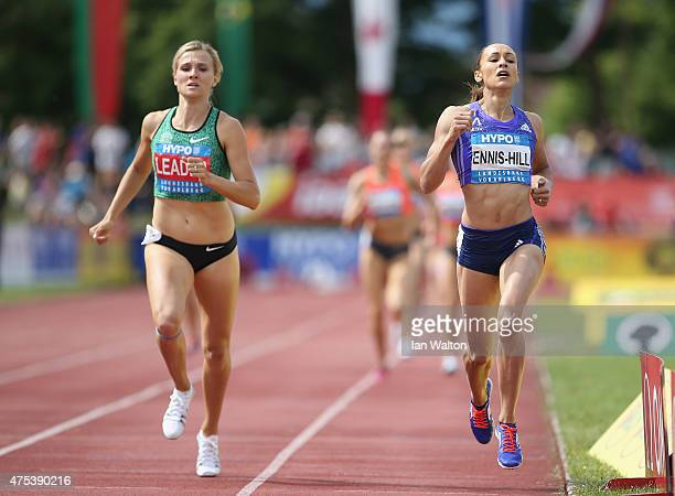 Jessica Ennis Hill of Great Britain participates in the 800 metres during the women's heptathlon during the Hypomeeting Gotzis 2015 at the Mosle...