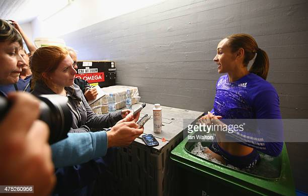 Jessica Ennis Hill of Great Britain speaks to the press after day one of the women's heptathlon during the Hypomeeting Gotzis 2015 at the Mosle...