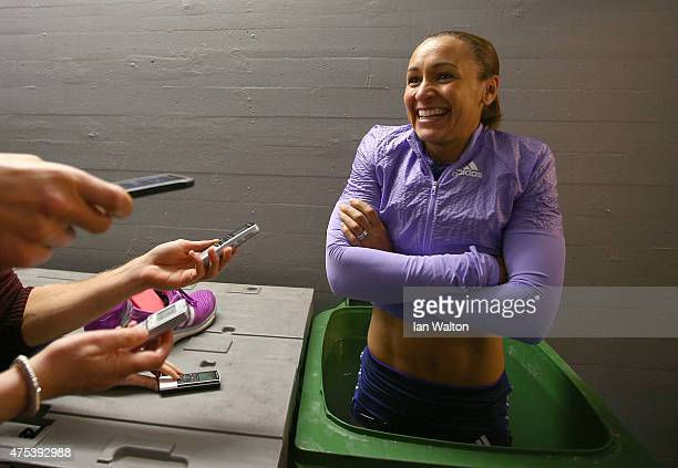 Jessica Ennis Hill of Great Britain speaks to the press after day two of the women's heptathlon during the Hypomeeting Gotzis 2015 at the Mosle...