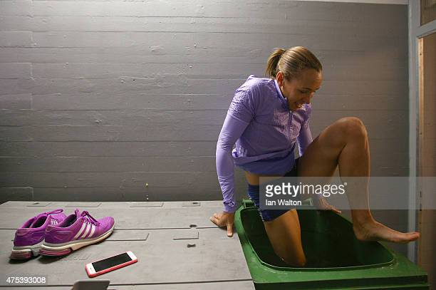 Jessica Ennis Hill of Great Britains recovers in a ice bath after day two of the women's heptathlon during the Hypomeeting Gotzis 2015 at the Mosle...
