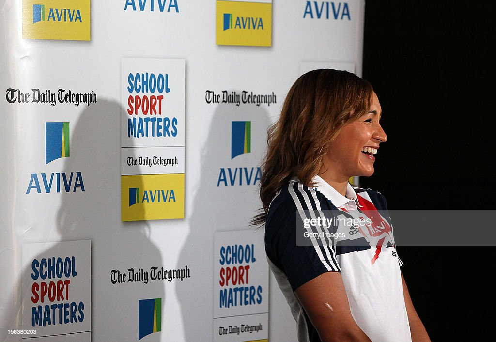<a gi-track='captionPersonalityLinkClicked' href=/galleries/search?phrase=Jessica+Ennis&family=editorial&specificpeople=602482 ng-click='$event.stopPropagation()'>Jessica Ennis</a> is interviewed during the AVIVA and Daily Telegraph School Sport Matters awards at Lord's Cricket Ground on November 14, 2012 in London, England.