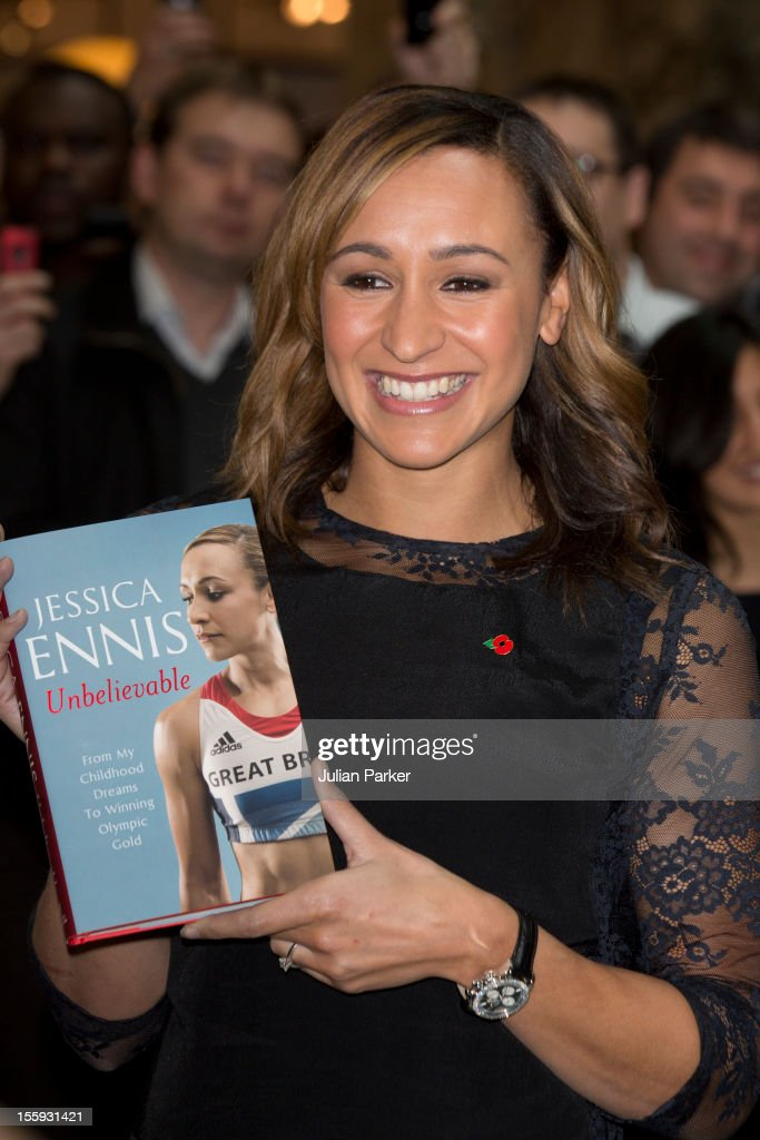Jessica Ennis meets fans and signs copies of her book 'Jessica Ennis: Unbelievable' at Waterstones Canary Wharf on November 9, 2012 in London, England.