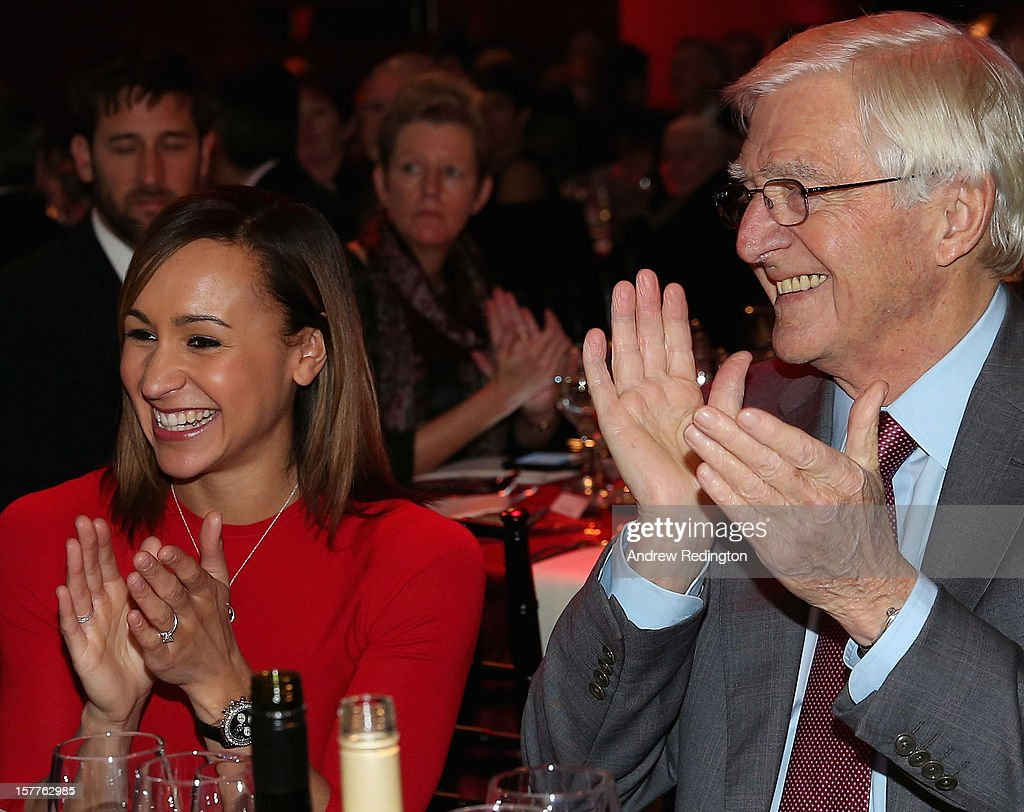 <a gi-track='captionPersonalityLinkClicked' href=/galleries/search?phrase=Jessica+Ennis&family=editorial&specificpeople=602482 ng-click='$event.stopPropagation()'>Jessica Ennis</a> of England and Sir <a gi-track='captionPersonalityLinkClicked' href=/galleries/search?phrase=Michael+Parkinson&family=editorial&specificpeople=159753 ng-click='$event.stopPropagation()'>Michael Parkinson</a> share a joke during the SJA 2012 British Sports Awards at The Pavilion at the Tower of London on December 6, 2012 in London, England.