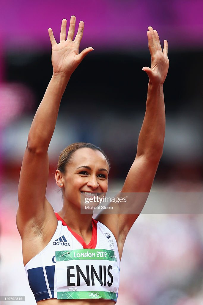 Jessica Ennis of Great Britain acknowledges the support duing the Women's Heptathlon Javelin Throw on Day 8 of the London 2012 Olympic Games at...