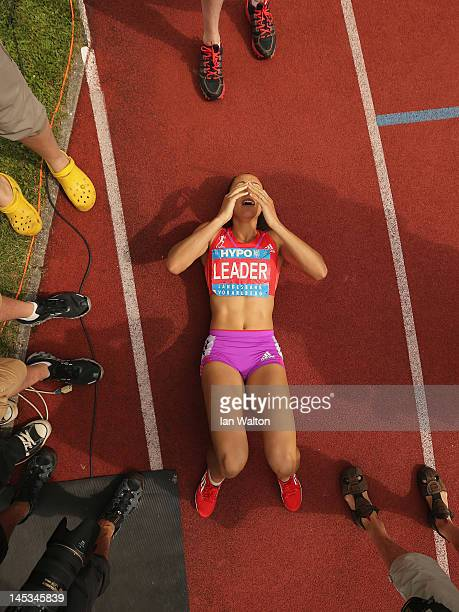 Jessica Ennis of Great Britain celebrates after the Women's 800m during the women's heptathlon during the Hypomeeting Gotzis 2012 at the Mosle...