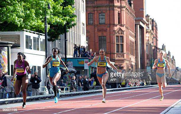 Jessica Ennis of Great Britain celebrates after winning the Womens 200m during the Great city games in Manchester northwest England on May 16 2010...