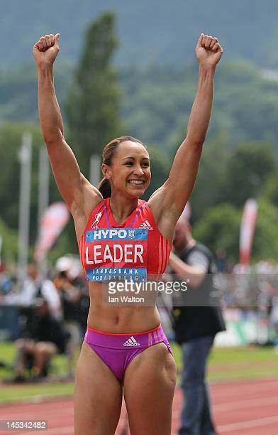Jessica Ennis of Great Britain celebrates during the Women's Long Jump in the women's heptathlon during the Hypomeeting Gotzis 2012 at the Mosle...