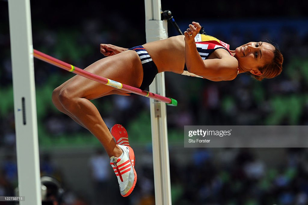 <a gi-track='captionPersonalityLinkClicked' href=/galleries/search?phrase=Jessica+Ennis&family=editorial&specificpeople=602482 ng-click='$event.stopPropagation()'>Jessica Ennis</a> of Great Britain competes in the high jump in the women's heptathlon during day three of the 13th IAAF World Athletics Championships at the Daegu Stadium on August 29, 2011 in Daegu, South Korea.
