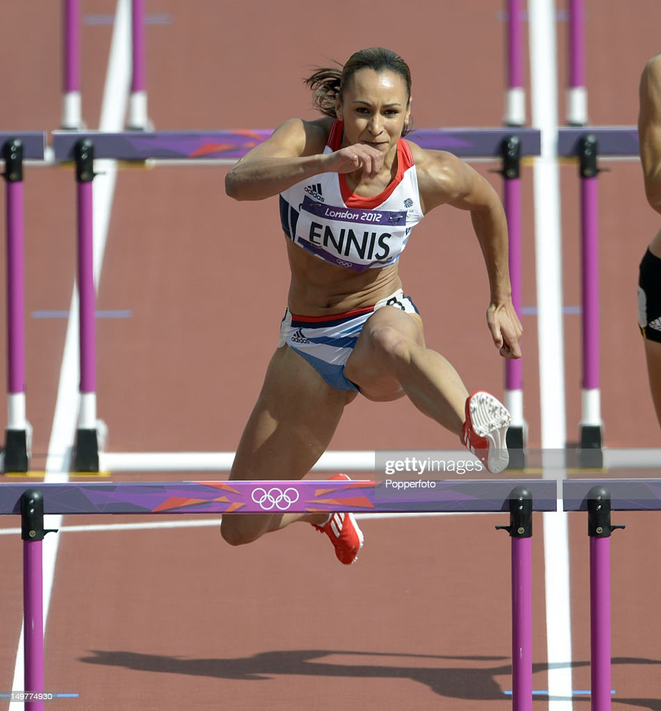 Jessica Ennis of Great Britain competes in the Women's Heptathlon 100m Hurdles on Day 7 of the London 2012 Olympic Games at Olympic Stadium on August 3, 2012 in London, England.