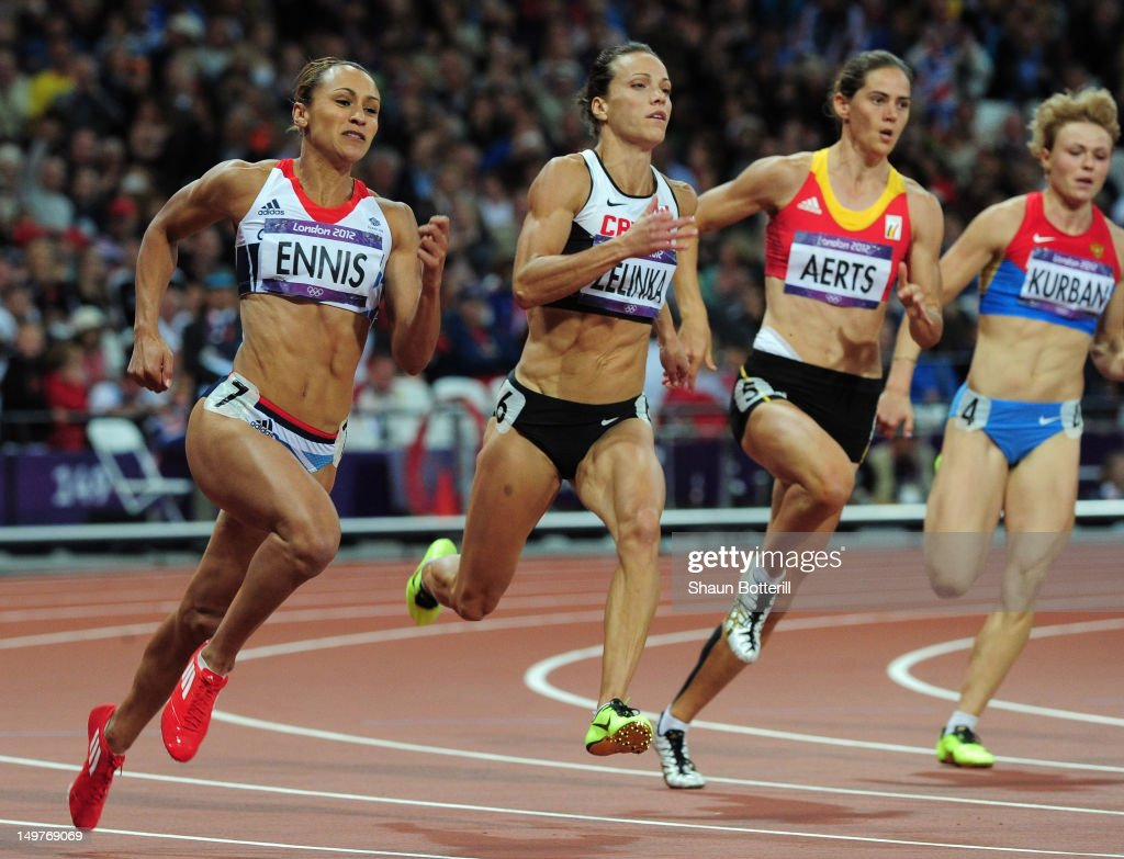 <a gi-track='captionPersonalityLinkClicked' href=/galleries/search?phrase=Jessica+Ennis&family=editorial&specificpeople=602482 ng-click='$event.stopPropagation()'>Jessica Ennis</a> of Great Britain competes in the Women's Heptathlon 200m on Day 7 of the London 2012 Olympic Games at Olympic Stadium on August 3, 2012 in London, England.
