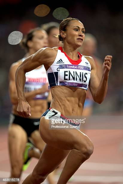 Jessica Ennis of Great Britain competes in the Women's Heptathlon 200m on Day 7 of the London 2012 Olympic Games at Olympic Stadium on August 3 2012...