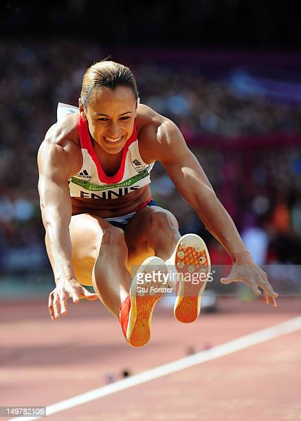 Jessica Ennis of Great Britain competes in the Women's Heptathlon Long Jump on Day 8 of the London 2012 Olympic Games at Olympic Stadium on August 4...