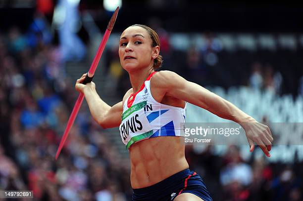 Jessica Ennis of Great Britain competes in the Women's Heptathlon Javelin Throw on Day 8 of the London 2012 Olympic Games at Olympic Stadium on...