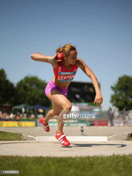 Jessica Ennis of Great Britain competes in the Women's shot put in the women's heptathlon during the Hypomeeting Gotzis 2012 at the Mosle Stadiom on...