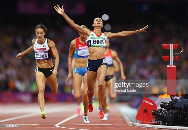 Jessica Ennis of Great Britain crosses the line during the Women's Heptathlon 800m to win overall gold on Day 8 of the London 2012 Olympic Games at...
