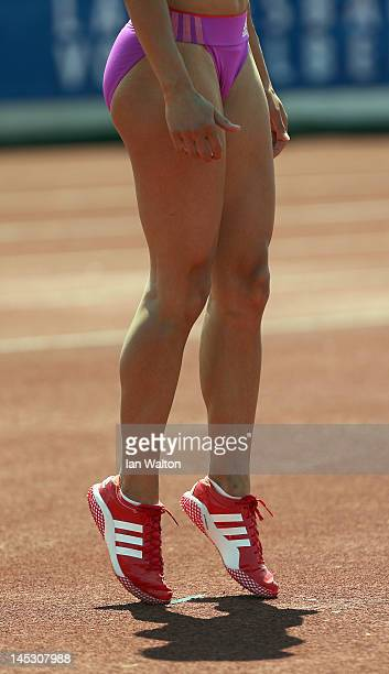 Jessica Ennis of Great Britain during the Women's High Jump in the women's heptathlon during the Hypomeeting Gotzis 2012 at the Mosle Stadiom on May...