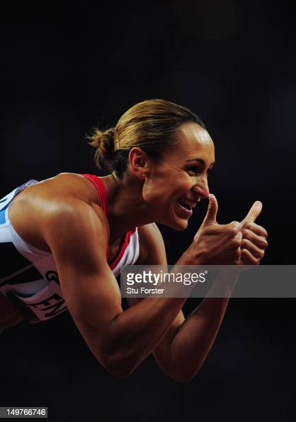 Jessica Ennis of Great Britain gives the thumbs up after competing in the Women's Heptathlon 200m on Day 7 of the London 2012 Olympic Games at...