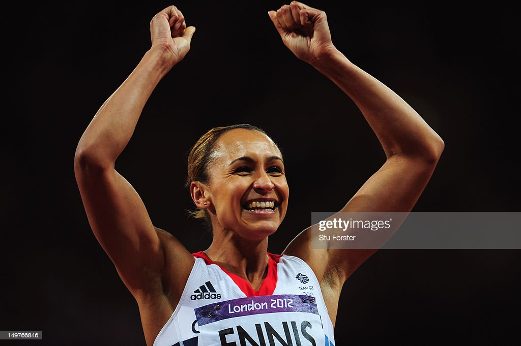 Jessica Ennis of Great Britain smiles after competing in the Women's Heptathlon 200m on Day 7 of the London 2012 Olympic Games at Olympic Stadium on...