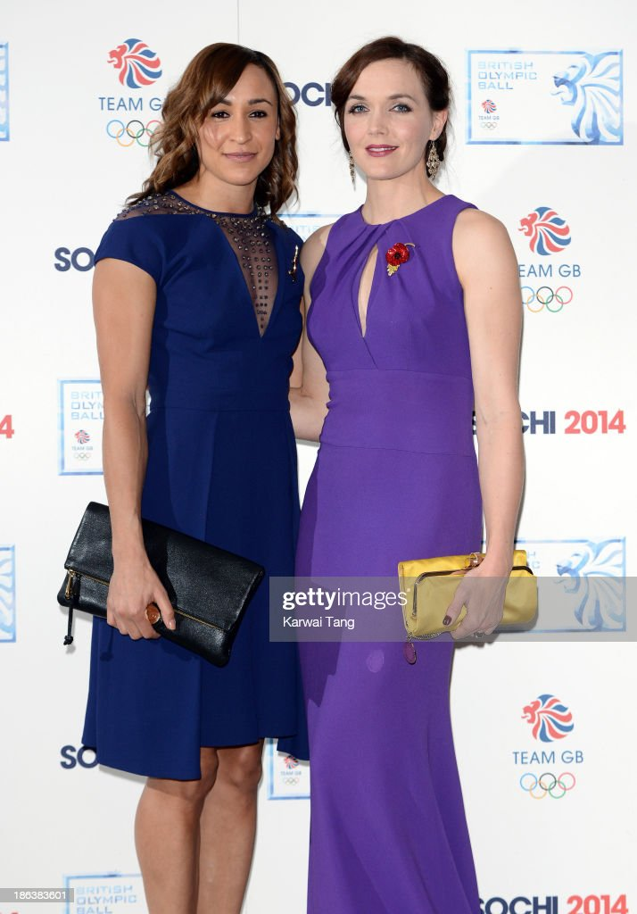 <a gi-track='captionPersonalityLinkClicked' href=/galleries/search?phrase=Jessica+Ennis&family=editorial&specificpeople=602482 ng-click='$event.stopPropagation()'>Jessica Ennis</a>-Hill and <a gi-track='captionPersonalityLinkClicked' href=/galleries/search?phrase=Victoria+Pendleton&family=editorial&specificpeople=228525 ng-click='$event.stopPropagation()'>Victoria Pendleton</a> attend the British Olympic Ball at The Dorchester on October 30, 2013 in London, England.