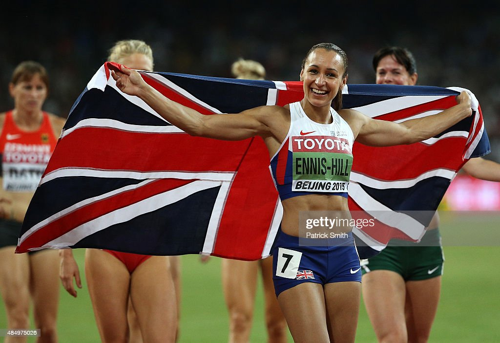Jessica EnnisHill of Great Britain celebrates after winning the Women's Heptathlon 800 metres and the overall Heptathlon gold during day two of the...