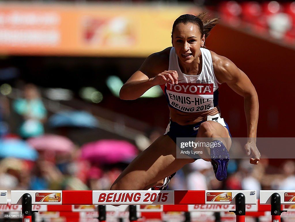 Jessica EnnisHill of Great Britain competes in the Women's Heptathlon 100 metres hurdles during day one of the 15th IAAF World Athletics...