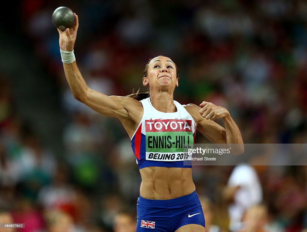Jessica EnnisHill of Great Britain competes in the Women's Heptathlon Shot Put during day one of the 15th IAAF World Athletics Championships Beijing...