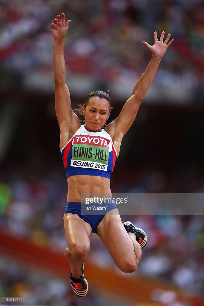 Jessica EnnisHill of Great Britain competes in the Women's Heptathlon Long Jump during day two of the 15th IAAF World Athletics Championships Beijing...