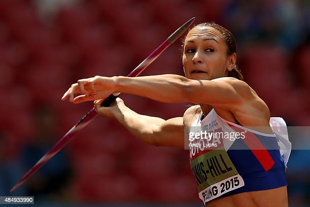Jessica EnnisHill of Great Britain competes in the Women's Heptathlon Javelin during day two of the 15th IAAF World Athletics Championships Beijing...