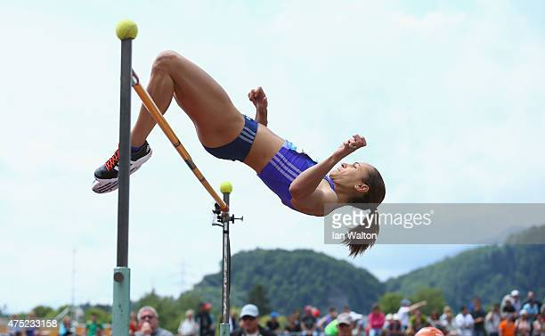 Jessica EnnisHill of Great Britain competes in the Women's High jump in the women's heptathlon during the Hypomeeting Gotzis 2015 at the Mosle...