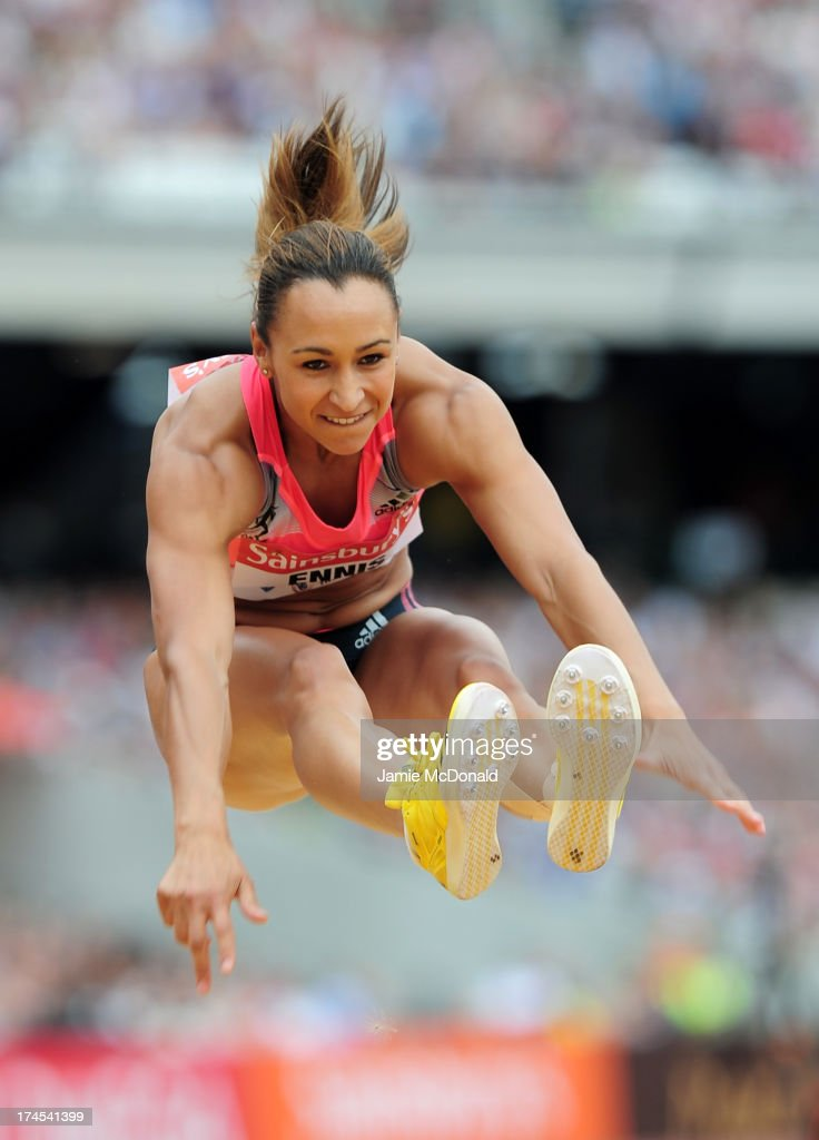 <a gi-track='captionPersonalityLinkClicked' href=/galleries/search?phrase=Jessica+Ennis&family=editorial&specificpeople=602482 ng-click='$event.stopPropagation()'>Jessica Ennis</a>-Hill of Great Britain competes in the Women's Long Jump during day two of the Sainsbury's Anniversary Games - IAAF Diamond League 2013 at The Queen Elizabeth Olympic Park on July 27, 2013 in London, England.