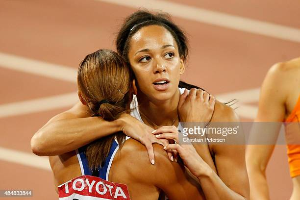 Jessica EnnisHill of Great Britain congratulates Katarina JohnsonThompson of Great Britain after competing in the Women's Heptathlon 200 metres...