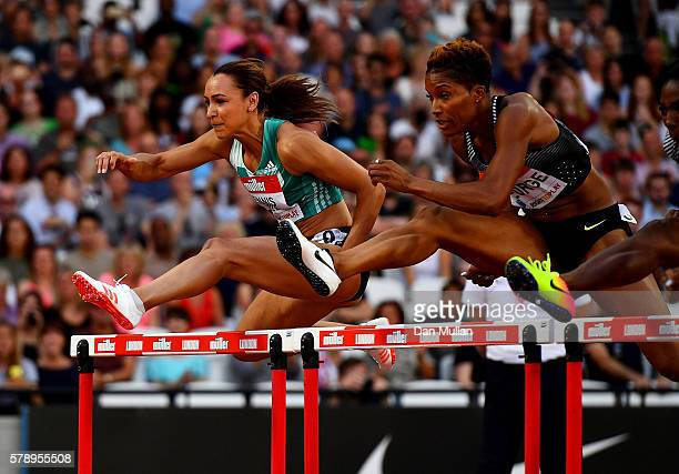Jessica EnnisHill of Great Britain in action during her heat of the womens 110m hurdles on Day One of the Muller Anniversary Games at The Stadium...