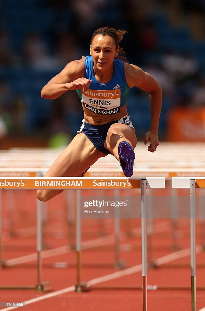 Jessica EnnisHill of Great Britain in action in her 100m hurdle heat on day two of the Sainsbury's British Championships at Birmingham Alexander...
