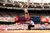 Jessica EnnisHill of Great Britain in the womens long jump during day two of the Muller Anniversary Games at The Stadium Queen Elizabeth Olympic Park...
