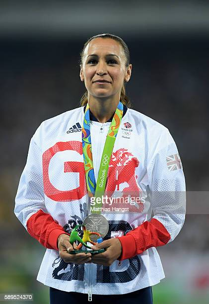 Jessica EnnisHill of Great Britain poses with the silver medal for the Women's Heptathlon on Day 9 of the Rio 2016 Olympic Games at the Olympic...