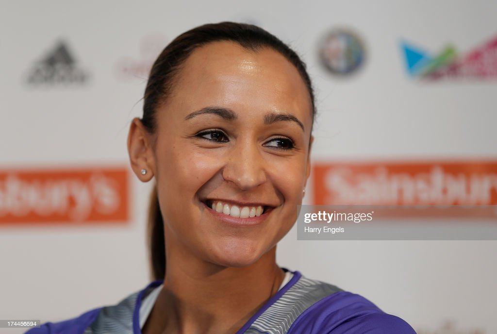 <a gi-track='captionPersonalityLinkClicked' href=/galleries/search?phrase=Jessica+Ennis&family=editorial&specificpeople=602482 ng-click='$event.stopPropagation()'>Jessica Ennis</a>-Hill of Great Britain speaks to members of the media during a press conference on day one of the Sainsbury's Anniversary Games - IAAF Diamond League at the Grange Tower Bridge Hotel on July 26, 2013 in London, England.