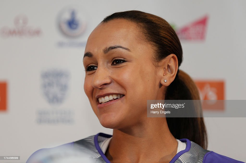 Jessica Ennis-Hill of Great Britain speaks to members of the media during a press conference on day one of the Sainsbury's Anniversary Games - IAAF Diamond League at the Grange Tower Bridge Hotel on July 26, 2013 in London, England.