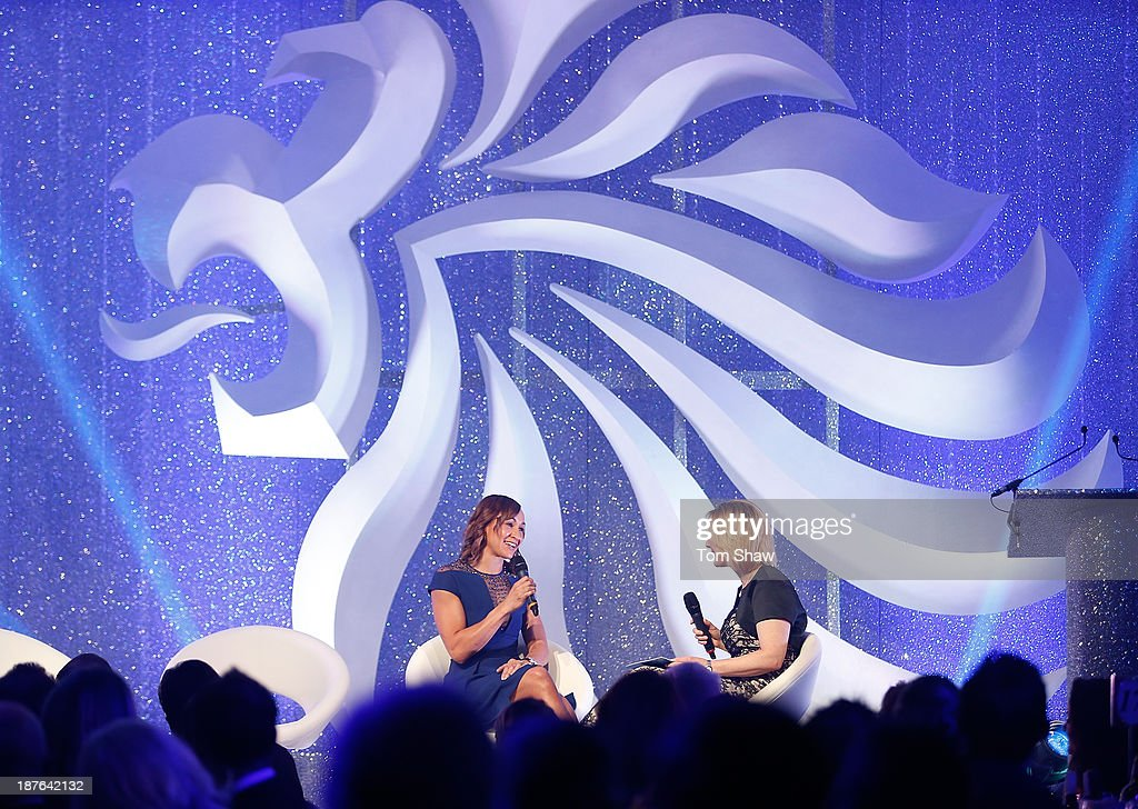 <a gi-track='captionPersonalityLinkClicked' href=/galleries/search?phrase=Jessica+Ennis&family=editorial&specificpeople=602482 ng-click='$event.stopPropagation()'>Jessica Ennis</a>-Hill of Great Britain talks on stage during the British Olympic Ball at The Dorchester on October 30, 2013 in London, England.