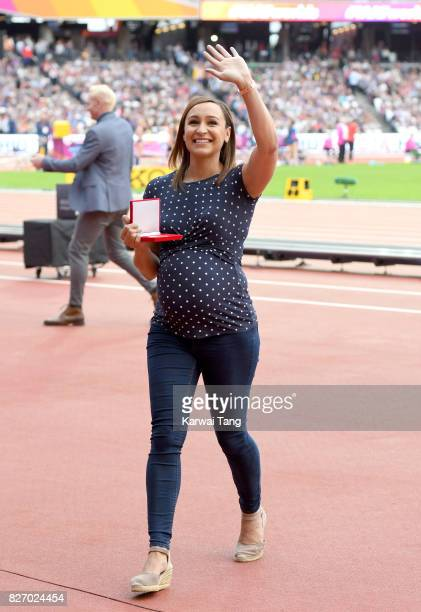 Jessica EnnisHill poses with her gold medal from the Heptathlon in Daegu 2011 World Championships during day three of the IAAF World Athletics...