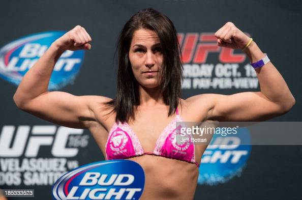 Jessica Eye weighs in during the UFC 166 weighin at the Toyota Center on October 18 2013 in Houston Texas